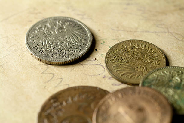 Old Austro-Hungarian coins stock photo