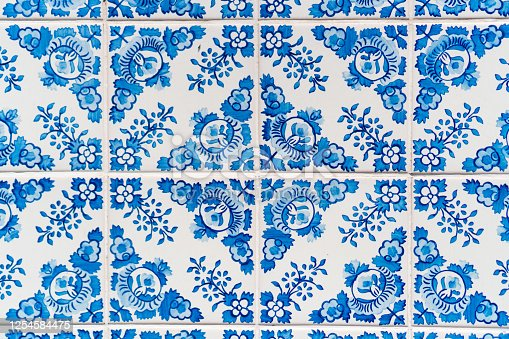 Old azulejos , typical ancient portuguese tiles useful as a background