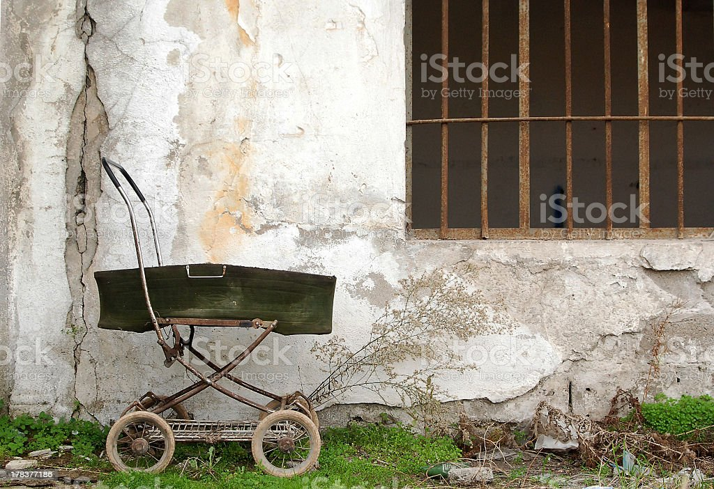 Old baby carriage royalty-free stock photo