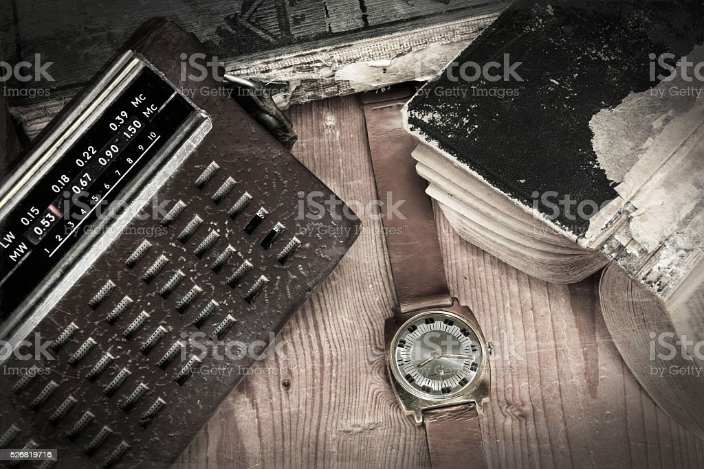 Old bag radio with watch stock photo