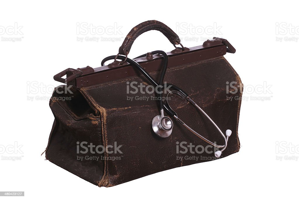 old bag with stethoscope stock photo