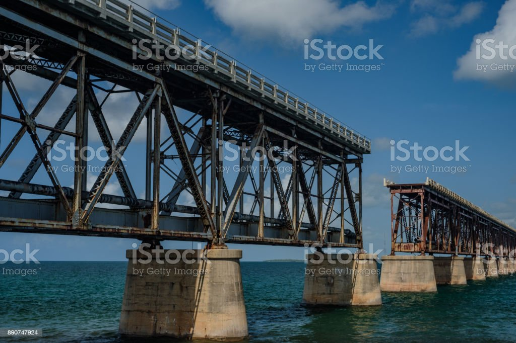 Old Bahia Honda pin-connected truss Railroad bridge built by Henry Flagler completed 1912 spans from Bahia Honda key with Spanish Harbor Key stock photo