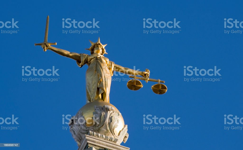 Old Bailey Law Courts Lady Justice Statue in London UK royalty-free stock photo