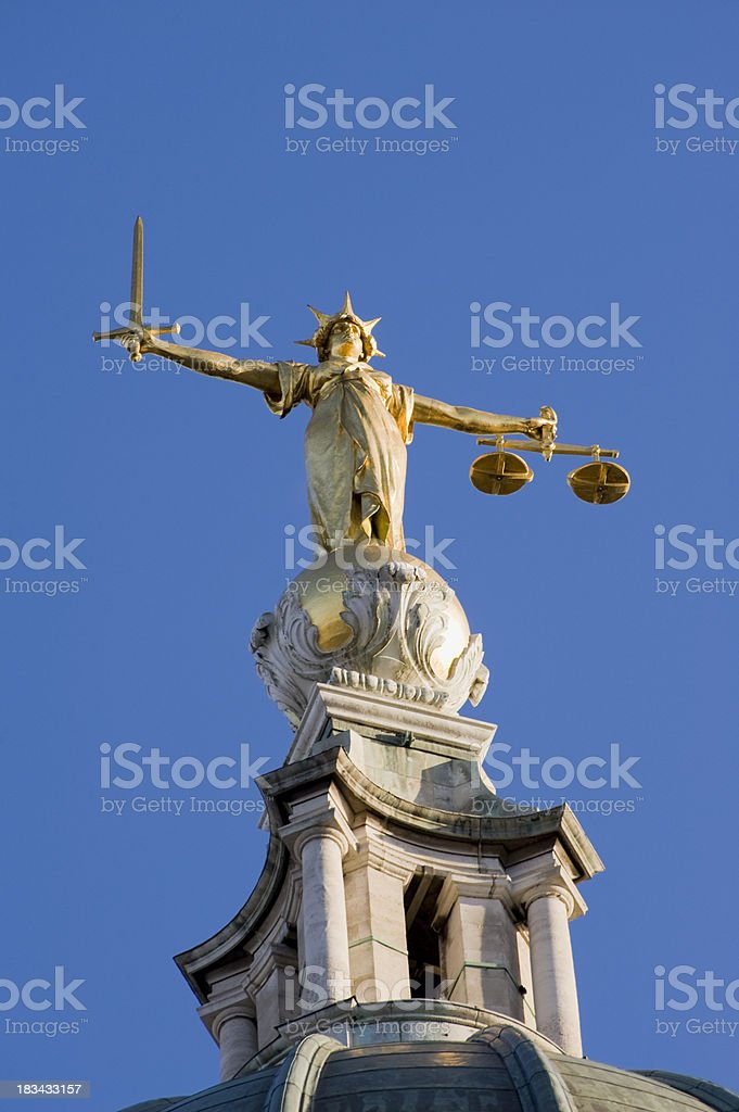 Old Bailey Law Courts Lady Justice Statue in London UK stock photo