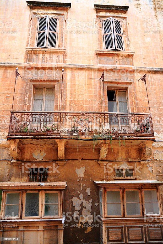 Old balcony  in Valletta, Malta royalty-free stock photo