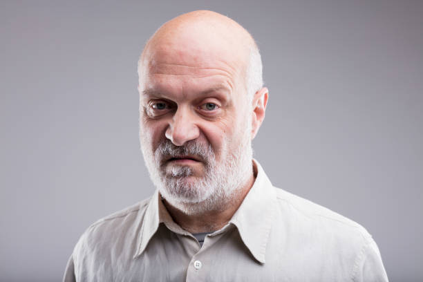 old bald man disgusted and disappointed - disappointment stock pictures, royalty-free photos & images