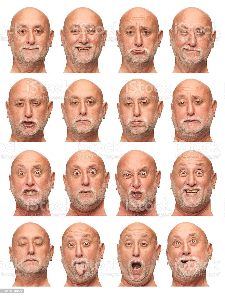 old bald man with beard face expression collection isolated  white stock photo