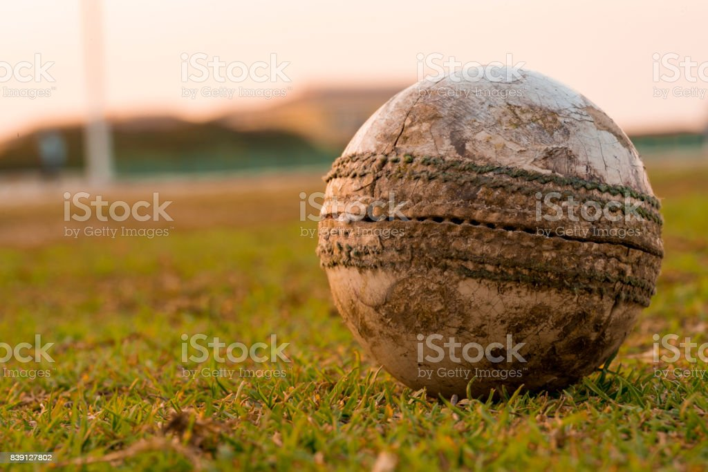 Old ball for cricket in india stock photo