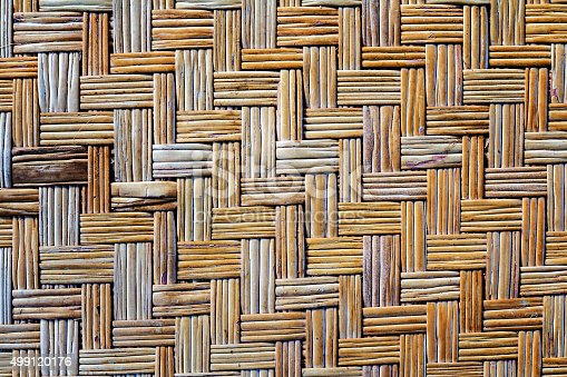 istock Old bamboo weave mat texture and background 499120176