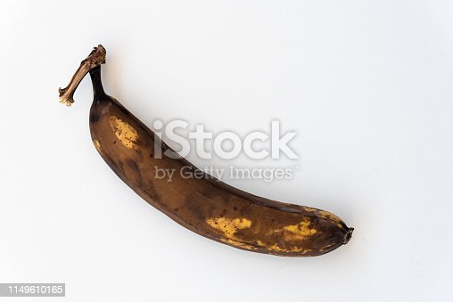 Old banana. A Withered old banana. concept of old age