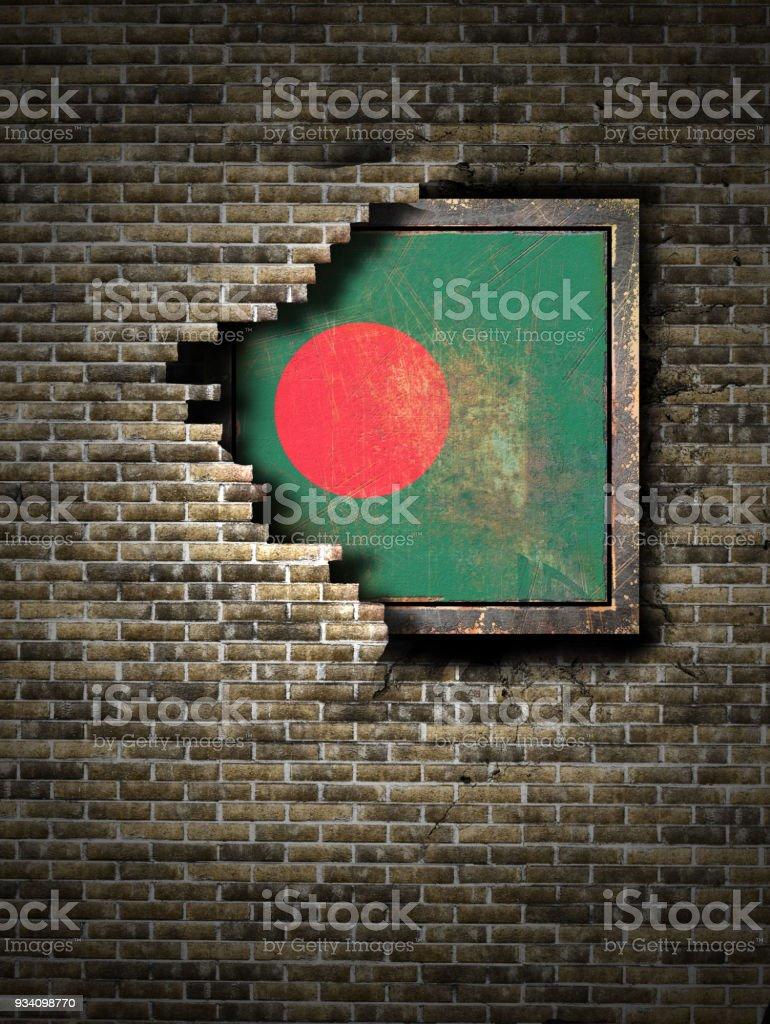 Antigua bandera de Bangladesh en pared de ladrillo - foto de stock