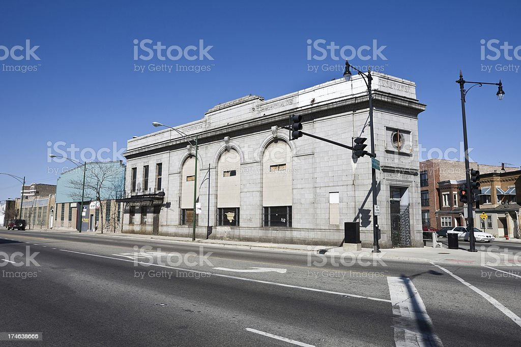 Old Bank in McKinley Park Chicago royalty-free stock photo