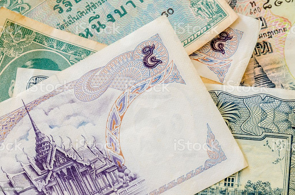 Old bank note of Thailand stock photo