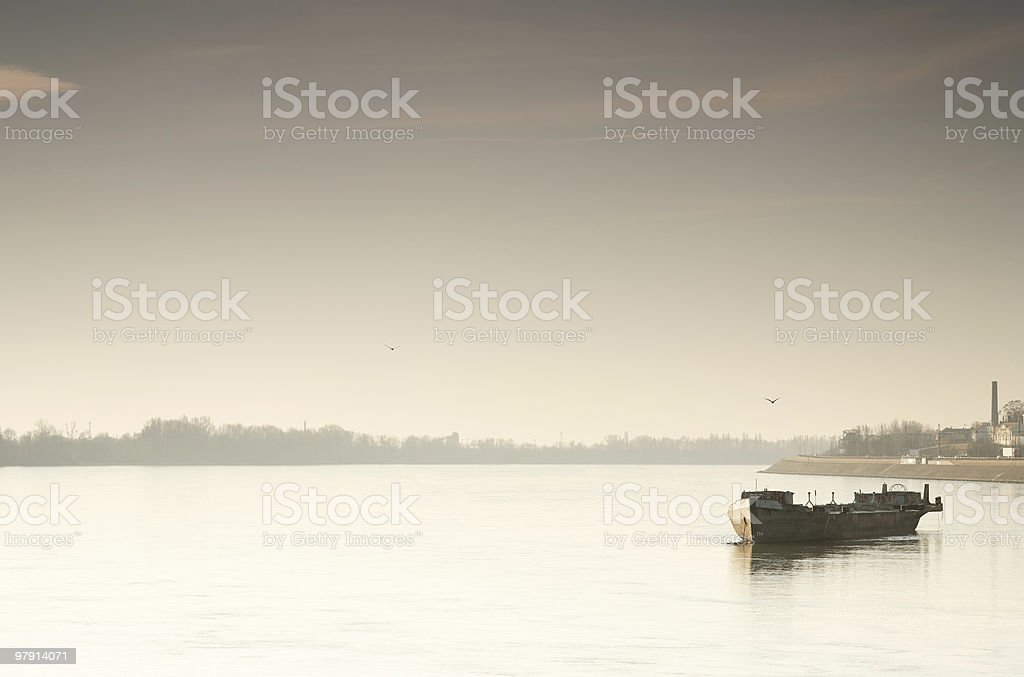 old barge on the early morning river royalty-free stock photo