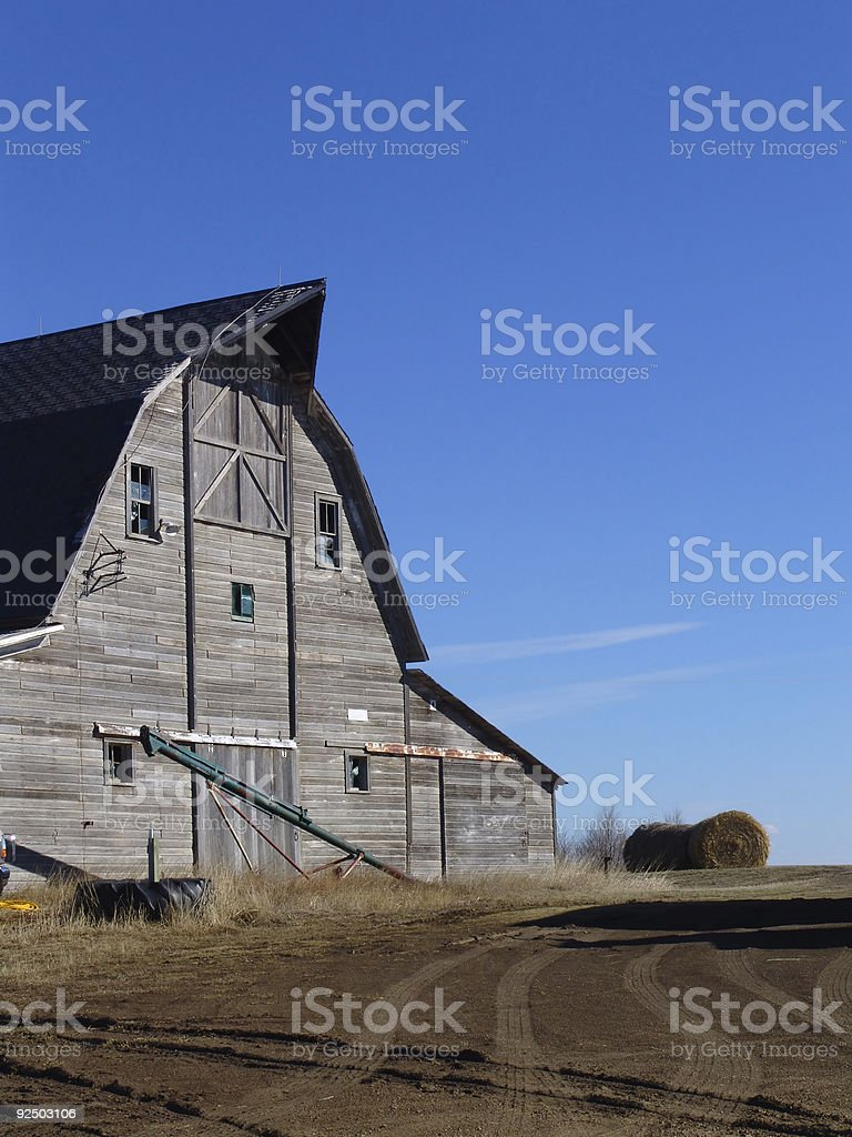 Old Barn against a Blue Sky royalty-free stock photo