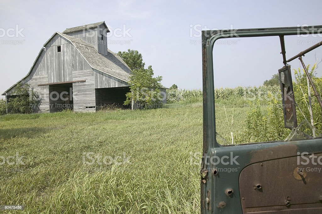 old barn and car door royalty-free stock photo
