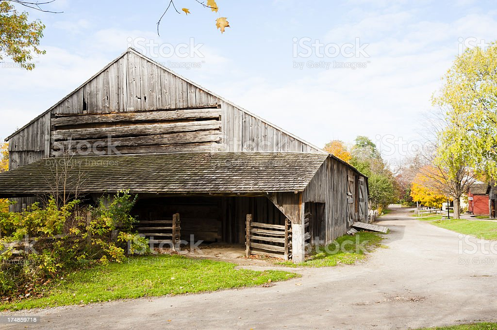 Old Barn and Country Road royalty-free stock photo