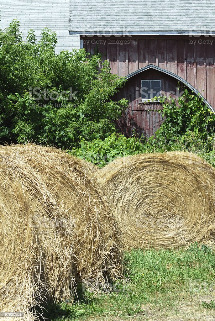 Old Barn and Round Bales royalty-free stock photo