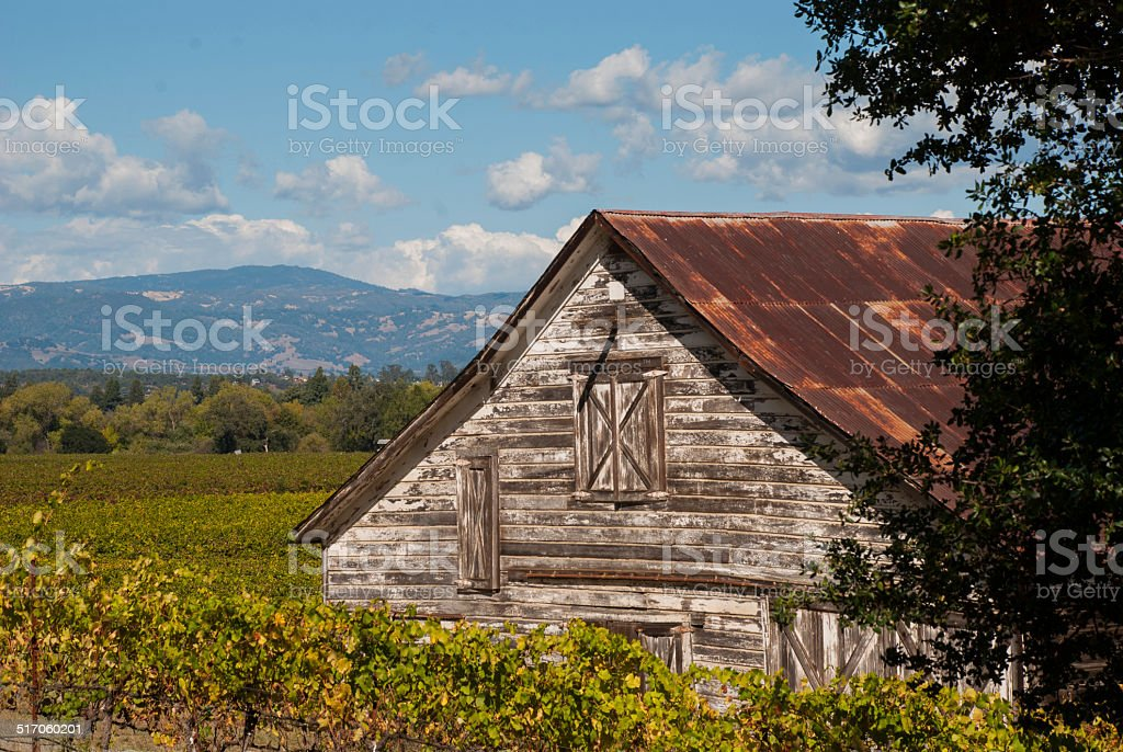 Old barn and Russian River Valley Sonoma County California stock photo
