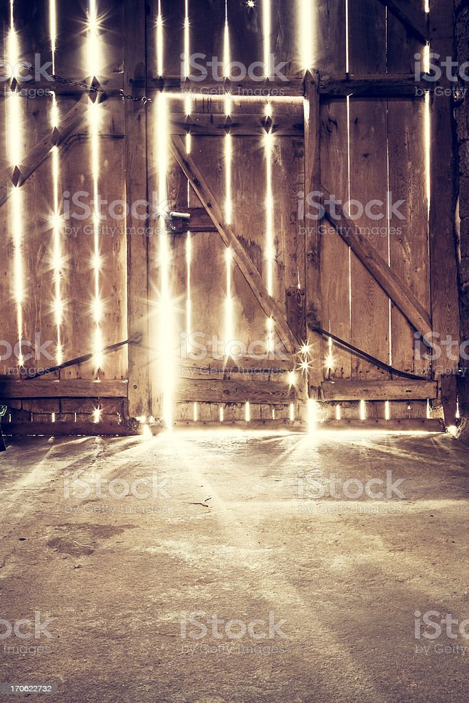 Old barn door - Sunlight Wood stock photo