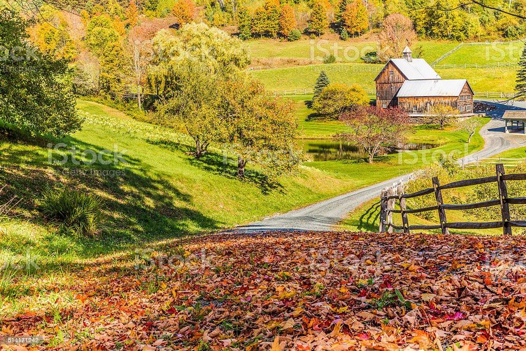 Old barn in beautiful Vermont autumn landscape stock photo