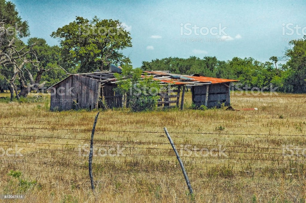 Old Barn in Pasture near Crawford Texas stock photo