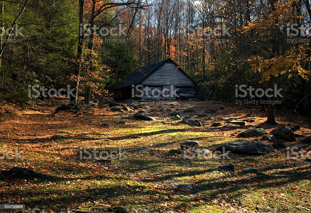 Old Barn in Roaring Fork area, Smoky Mountains, Tennessee stock photo