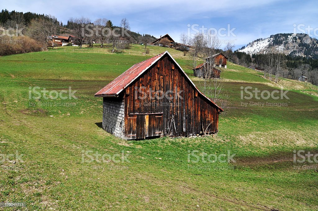 Old Barn in the Alps royalty-free stock photo