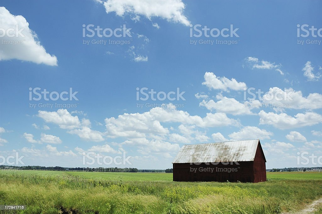 Old Barn Indiana Farm on Bright and Sunny June Day stock photo