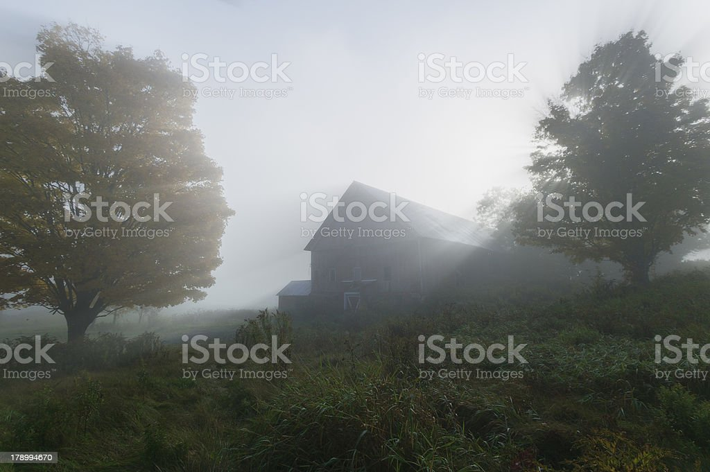 Old barn on a foggy early morning. royalty-free stock photo