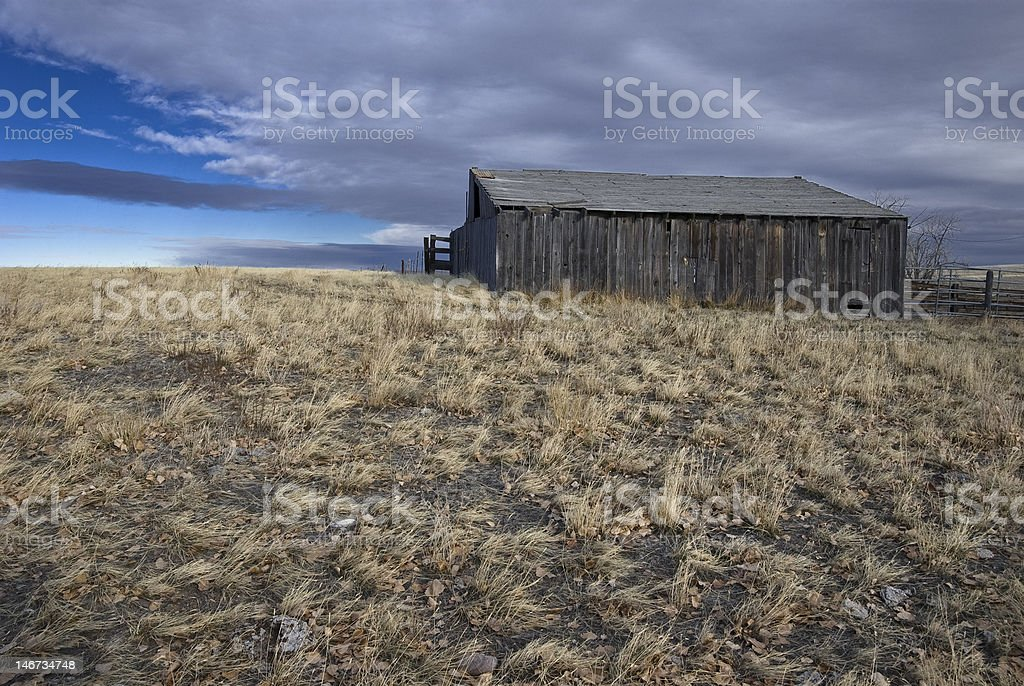 Old barn on hill royalty-free stock photo