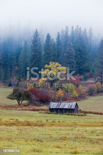 A vivid landscape image of an old barn in front of colorful trees of autumn near Rose Lake, Idaho.
