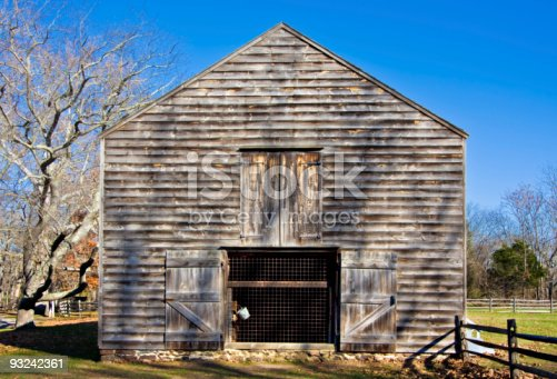 An old barn in Allaire Village, New Jersey. Allaire village was a bog iron industry town in New Jersey during the early 19th century.