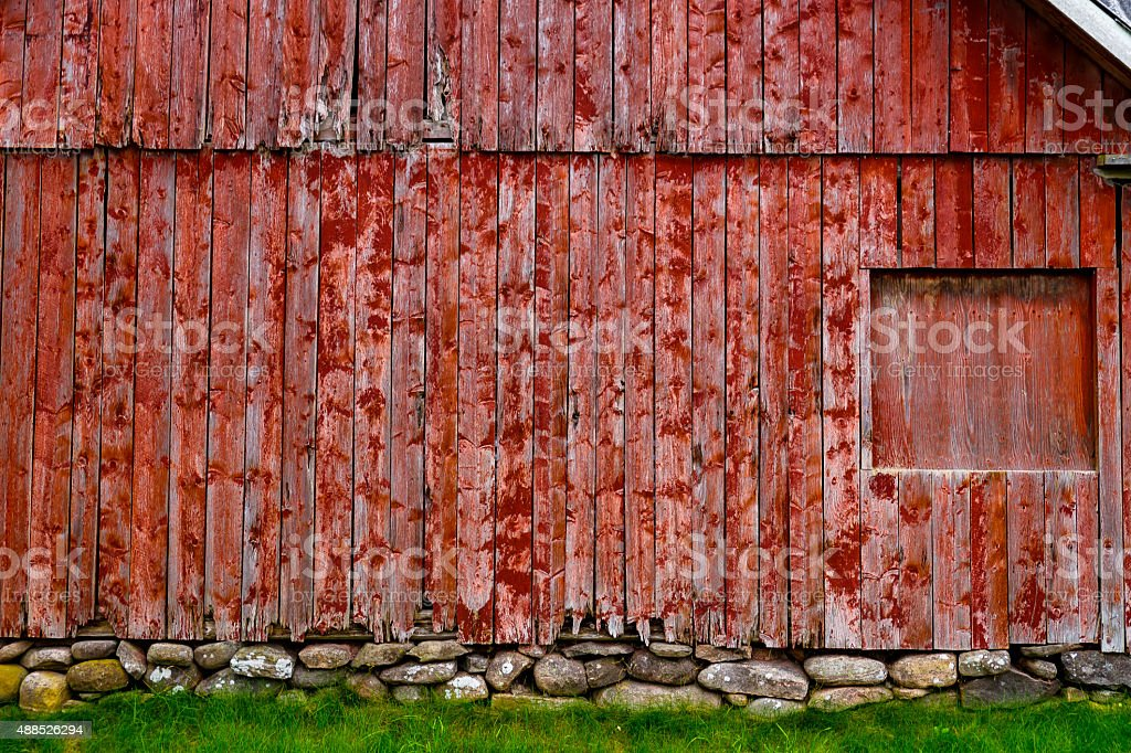 Old barn red wood panels stock photo