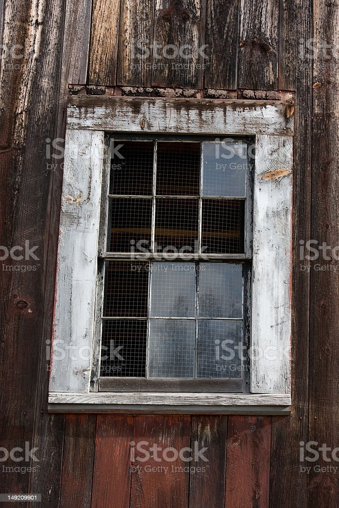 Old Barn Window with Screen stock photo