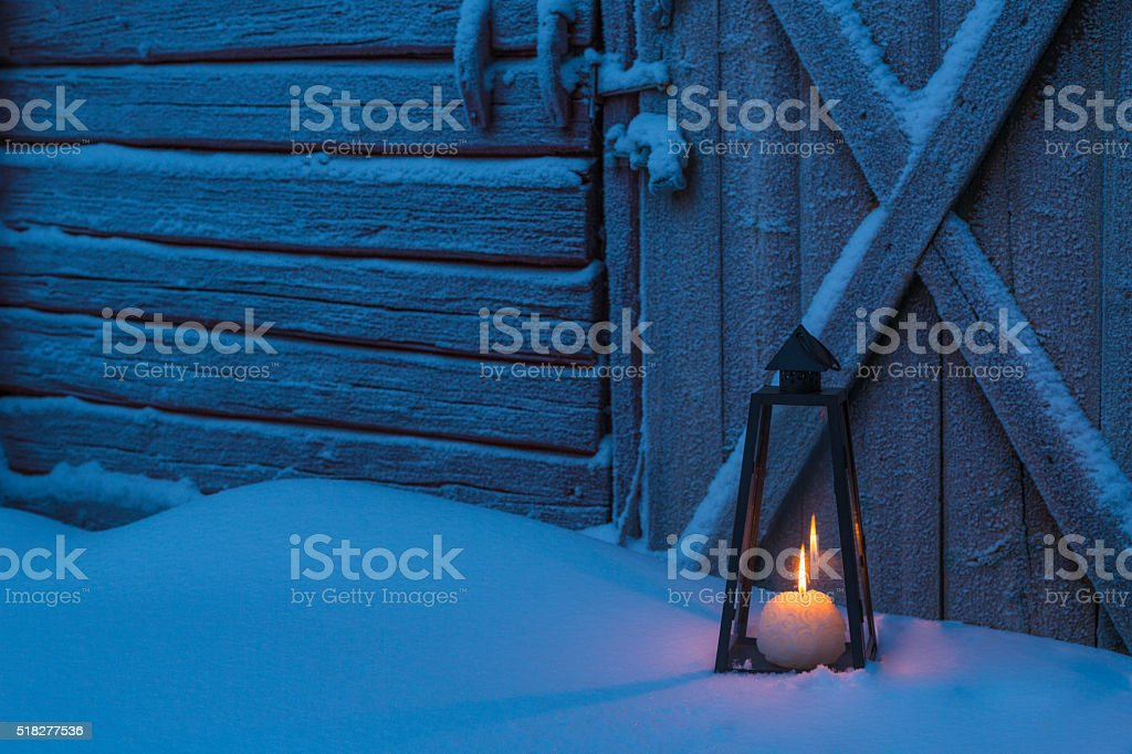 Old barn with lantern stock photo