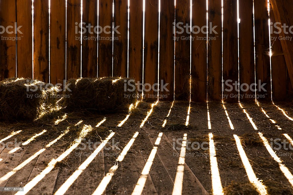 old barn with some hay stock photo