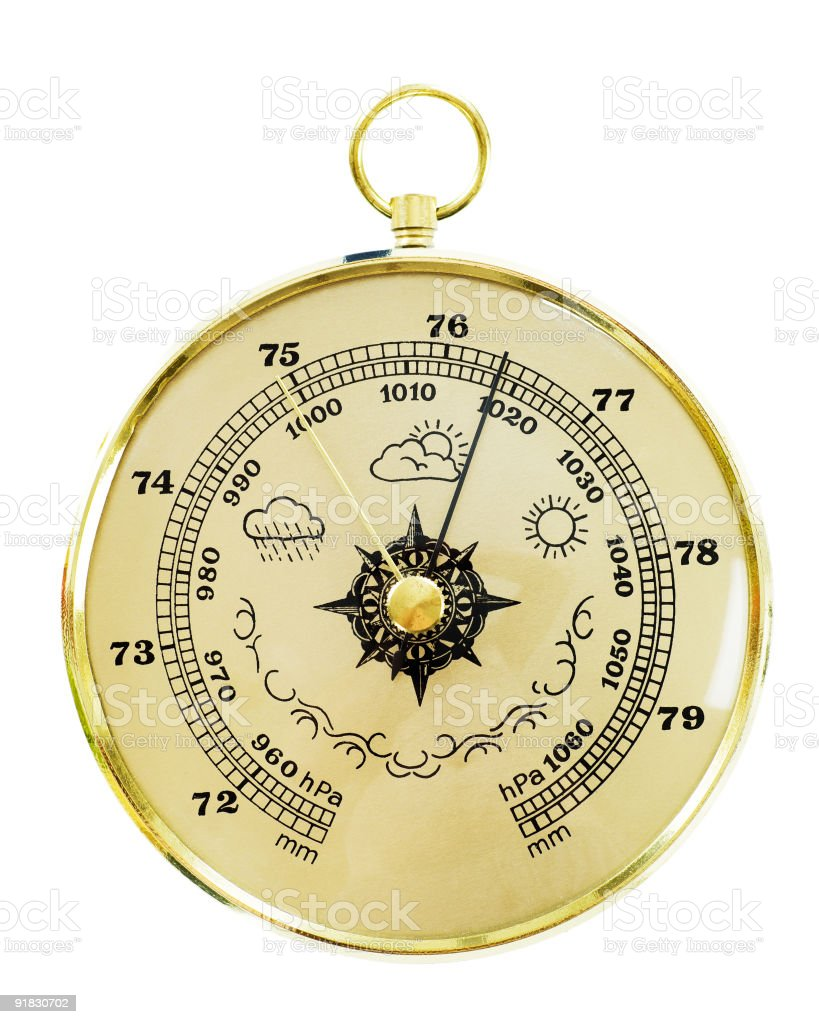 Old barometer isolated on white royalty-free stock photo