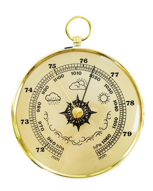 old barometer isolated on white - barometer bildbanksfoton och bilder