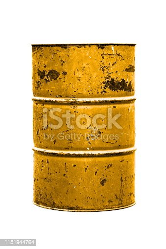 Old Barrel Oil, Barrel Oil yellow or gold isolated on background white
