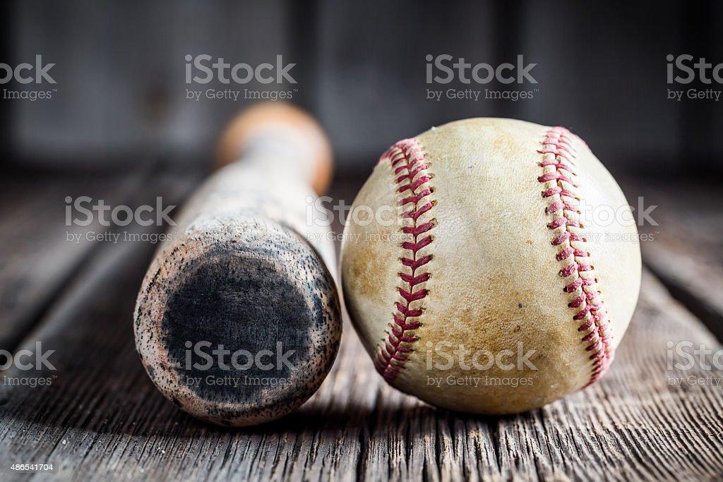 Old baseball bat and Ball stock photo