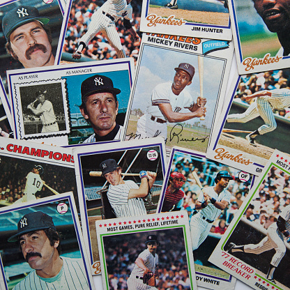 Woodbridge, New Jersey USA - February 18, 2014: A pile of vintage baseball cards from the 1970s New York Yankees