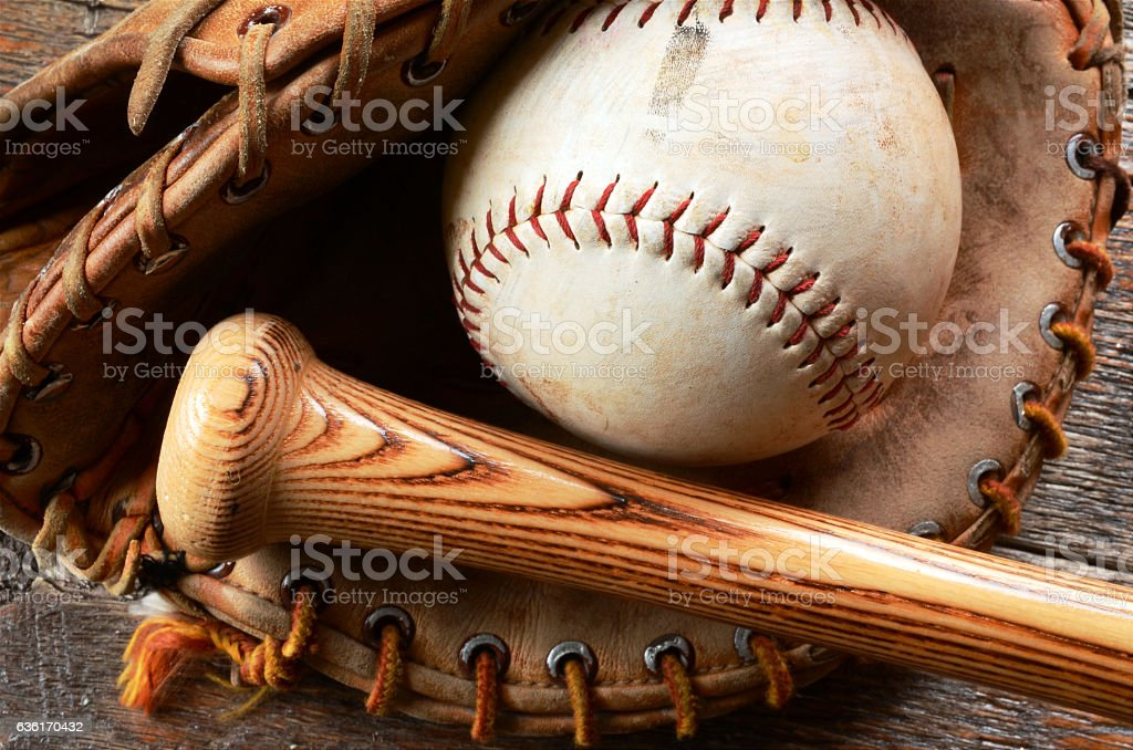 Old Baseball Equipment stock photo