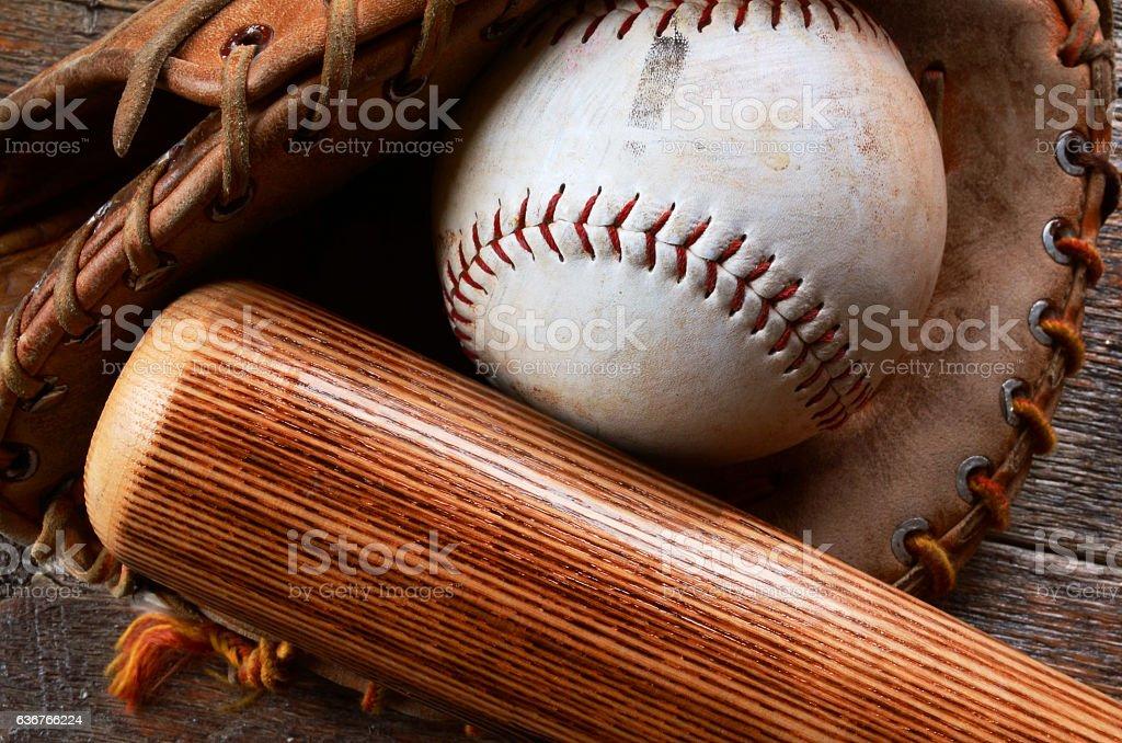 Old Baseball Equipment stock photo