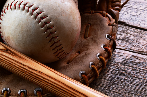 Old Baseball Equipment Stock Photo - Download Image Now