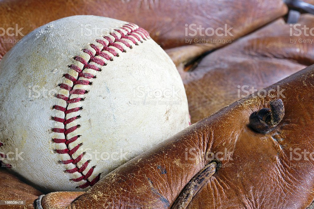 Old baseball glove and ball royalty-free stock photo