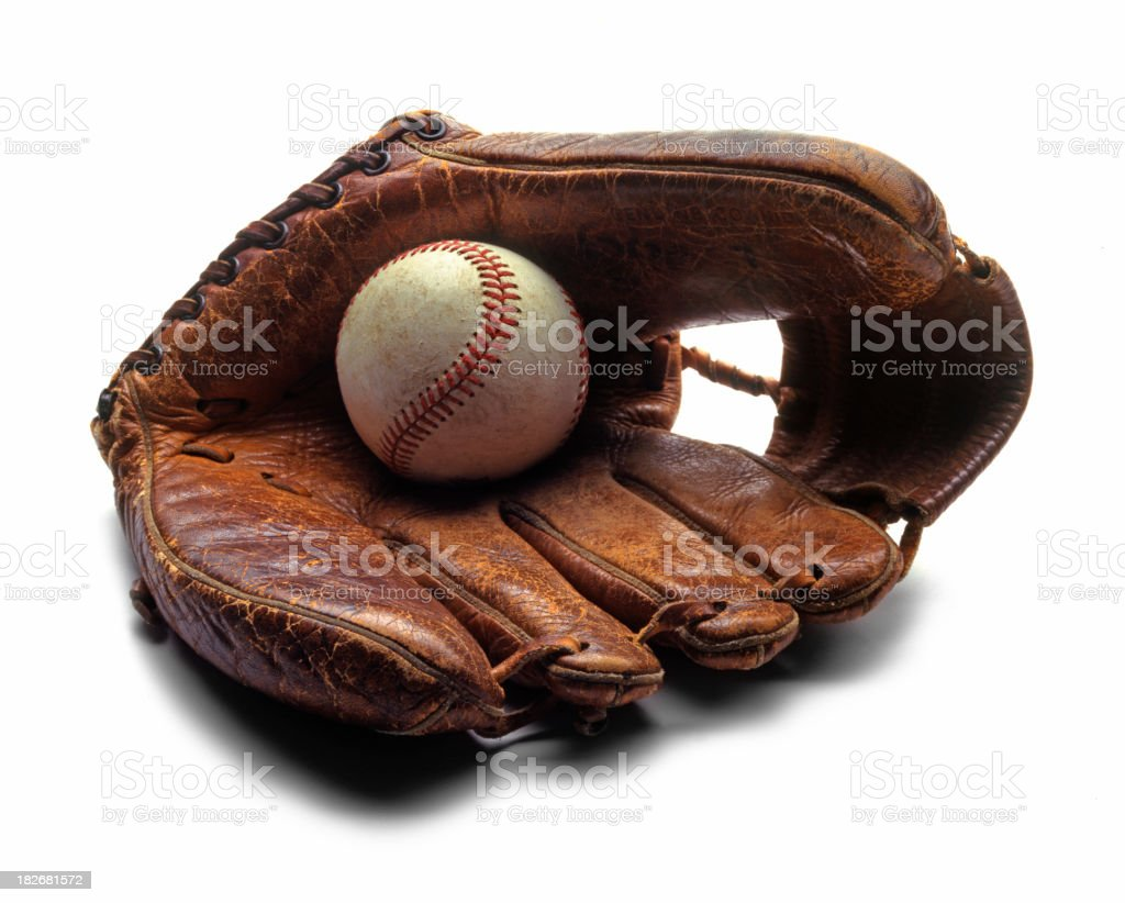 Old Baseball & Glove stock photo