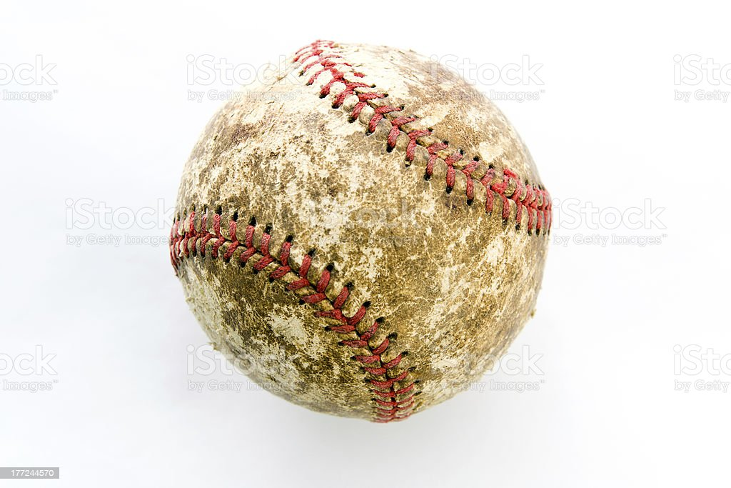 Well worn baseball on white background. Check out my other baseball...