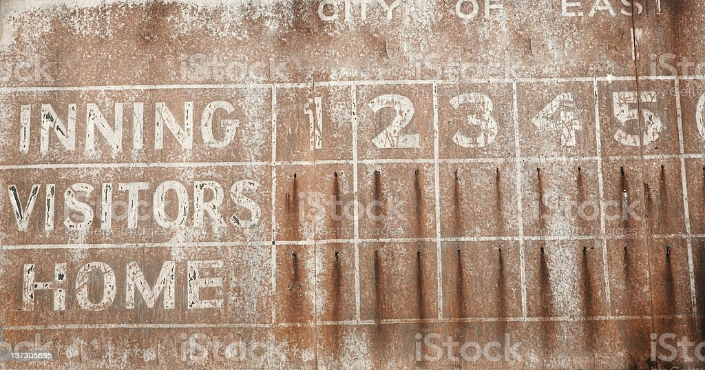 Old baseball scoreboard background stock photo