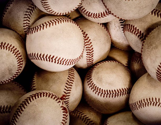 Old Baseballs stock photo